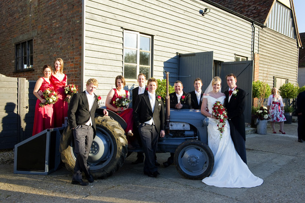 Picture With Tractor - Dove Barn Wedding Venue