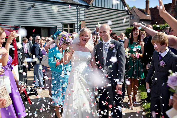 Couple With Confetti - Dove Barn Wedding Venue