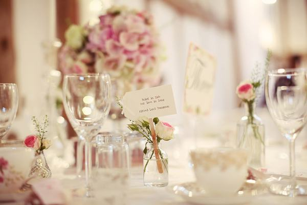 Place Setting With Roses - Dove Barn Wedding Venue